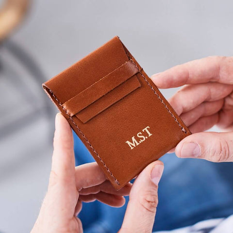 Tan card holder with flap