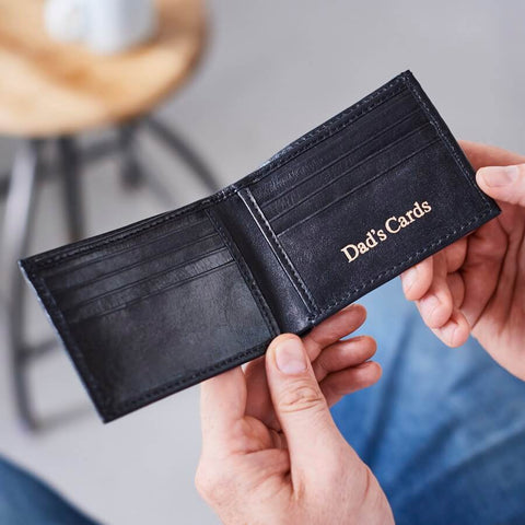 Leather card wallet in black