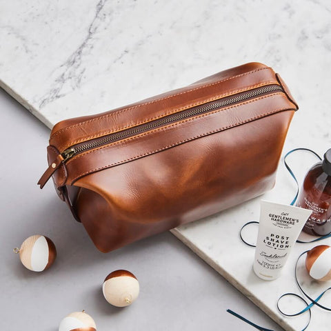 Vida Luxe Leather Wash Bag