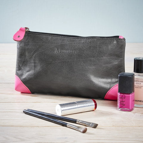 Leather Make-Up Bag Navy/Neon Pink