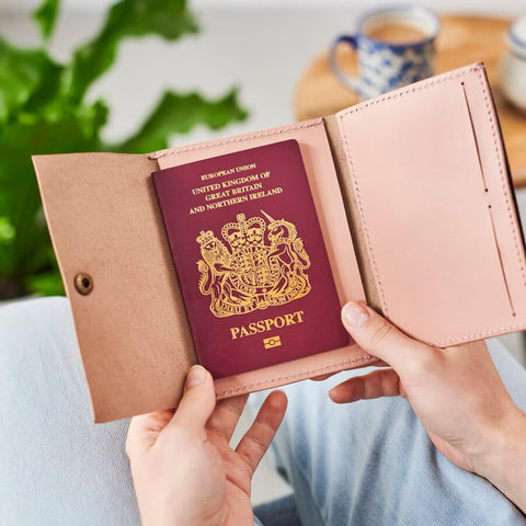 Personalised passport cover in blush pink leather