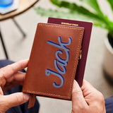 Leather Passport Cover with Name