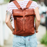 Roll-top Leather Backpack