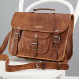 Medium Leather Satchel with front pocket and handle