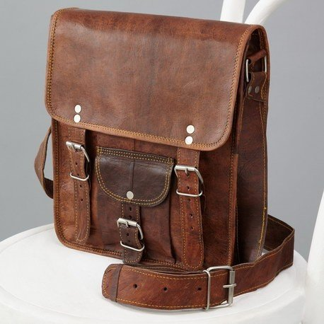 Mens Long Midi Leather Satchel with Front Pocket