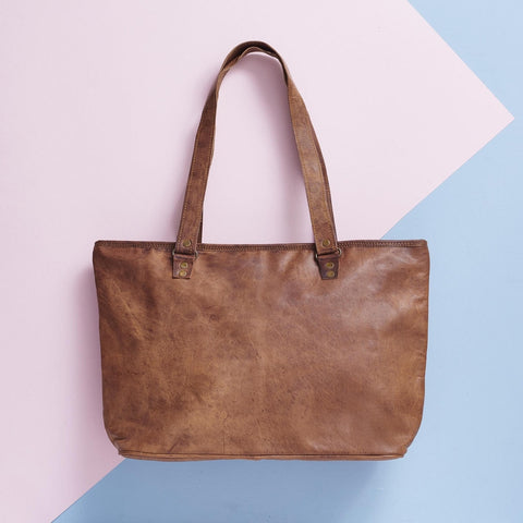 Vintage Style Leather Tote Bag