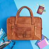 Tan leater weekend bag with embossing available