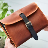 Leather Luxe Hanging Wash Bag