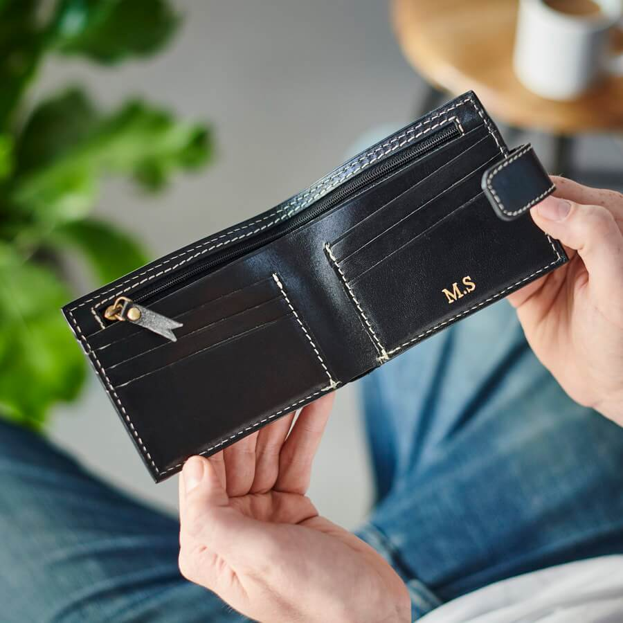 Leather Wallet with Internal Zip Section - Black