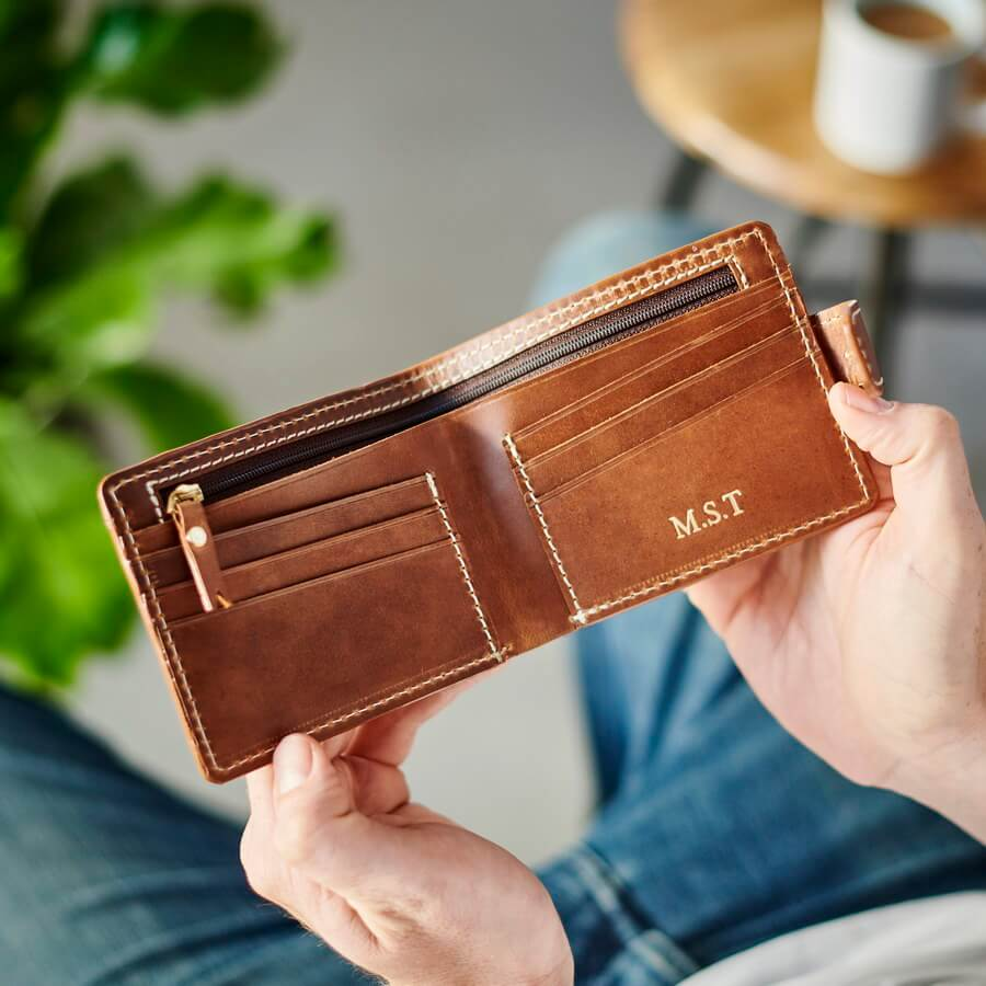 Leather Wallet with Internal Zip Section - Tan