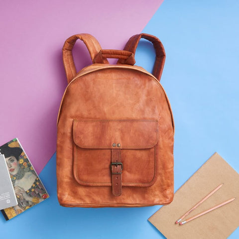Zip Round Leather Backpack