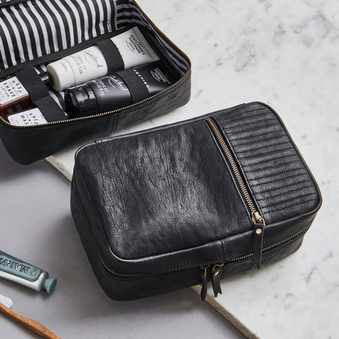 Mens black leather wash bag open and closed