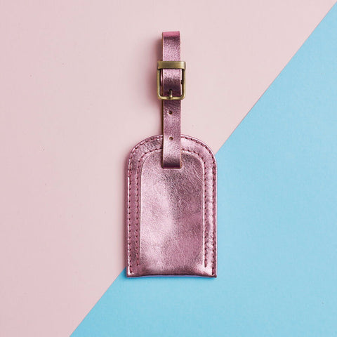Metallic Leather Luggage Tag