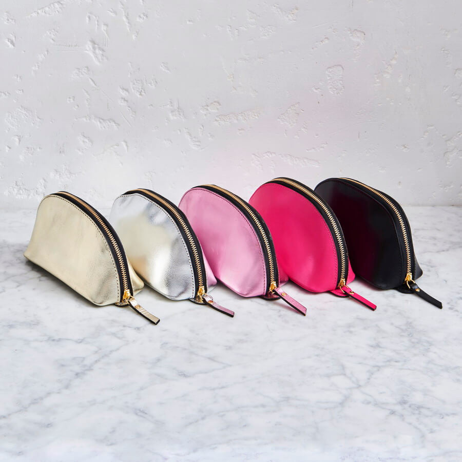 Range of leather make-up bags