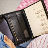 Black leather document holder and personal organiser