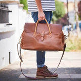 Large leather gladstone bag in tan
