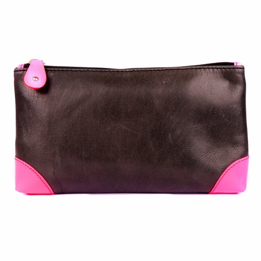 Navy and Neon Pink Leather Make up Bag