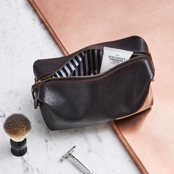 Mens Leather Wash Bag with Striped Lining