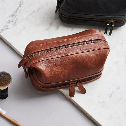 Brown leather wash bag for men
