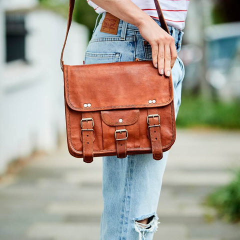 midi leather satchel in tan leather