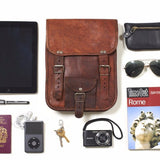 What fits inside Long Midi Leather Satchel with Front Pocke