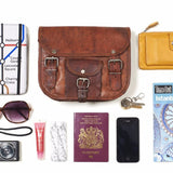 What fits inside mini leather satchel with front pocket