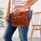 Mini leather satchel with initials embossed