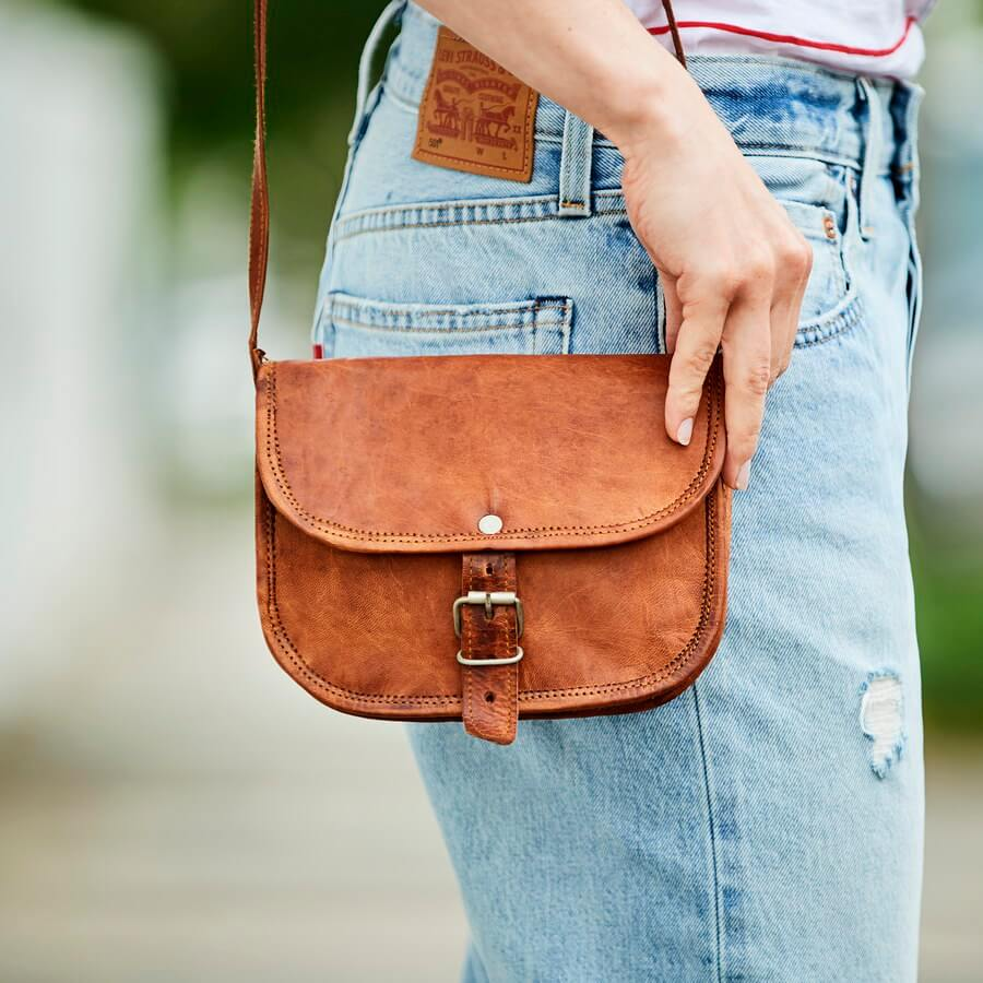 Mini leather shoulder bag tan brown