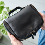 Personalised Luxe Leather Wash Bag With Handle
