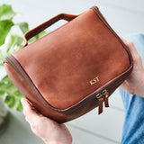 Leather Luxe Wash Bag with Handle