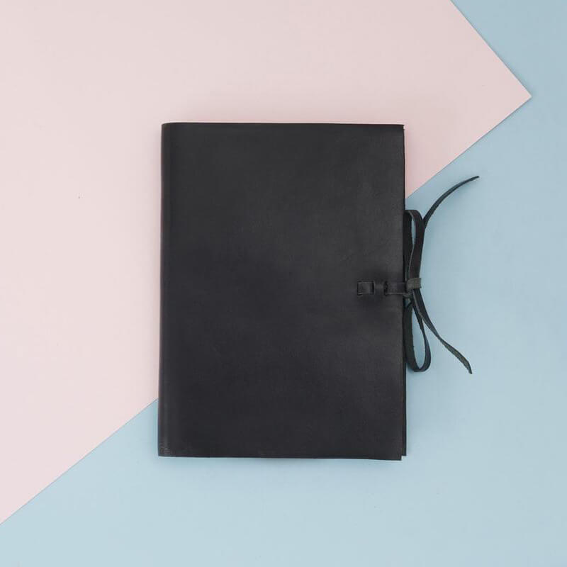 Black leather notebook with embossing