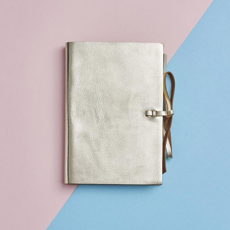 Gold leather notebook with personalisation