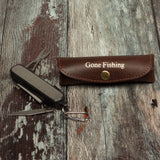 Fishermans multitool pocket tool kit with leather holder