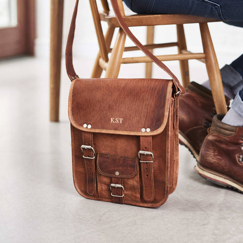 Midi Long Leather Satchel With Front Pocket