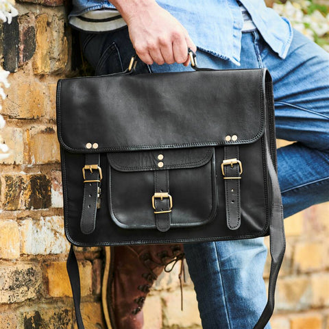 Black Leather Satchel Laptop Bag