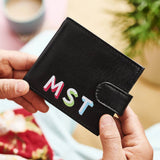 Personalised Leather Tri Fold Wallet Bold Initials