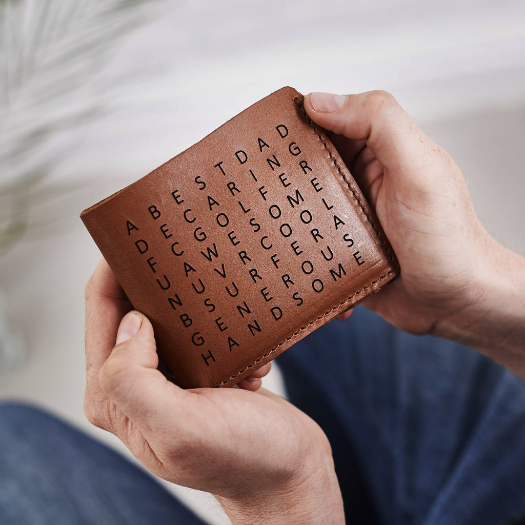 Personalised leather wallet with word search
