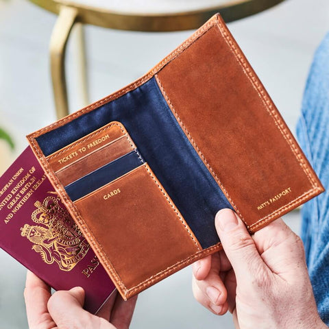 3 Colour Leather Passport Cover