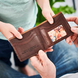 Personalised Leather Card Wallet With Metal Photo Card -Dark Brown