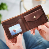 Personalised Leather Wallet With Metal Photo Card - Dark Brown