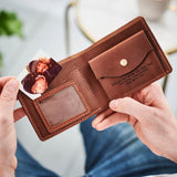 Personalised Leather Wallet With Metal Photo Card - Tan