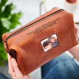 Personalised Leather Wash Bag with Metal Photo Card Tan