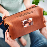 Personalised Leather Wash Bag with Metal Photo Card - Herbie