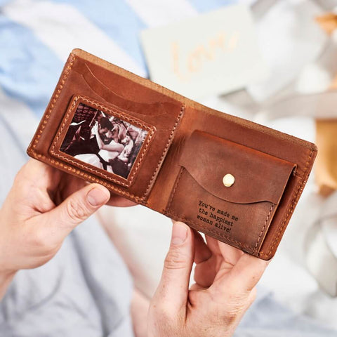 Groom Personalised Leather Wallet With Metal Photo