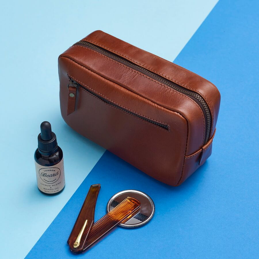 Leather Beard Grooming Bag And Deluxe Beard Grooming Products
