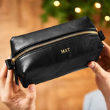 Personalised Compact Leather Wash Bag