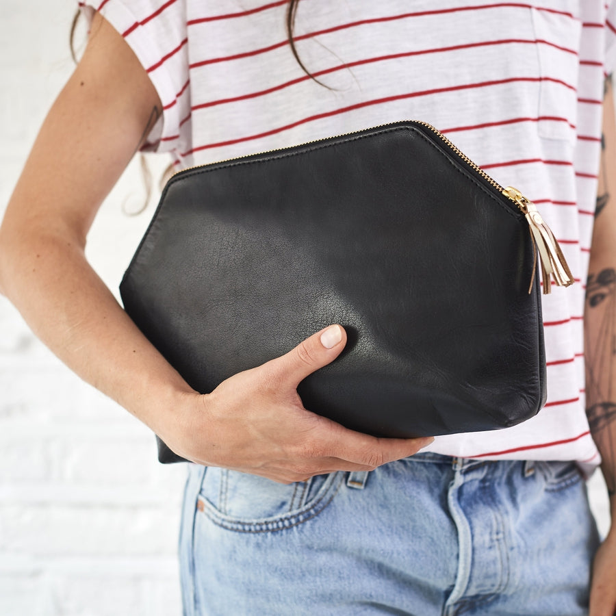 Black leather clutch bag for women