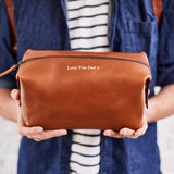 Personalised Leather Wash Bag