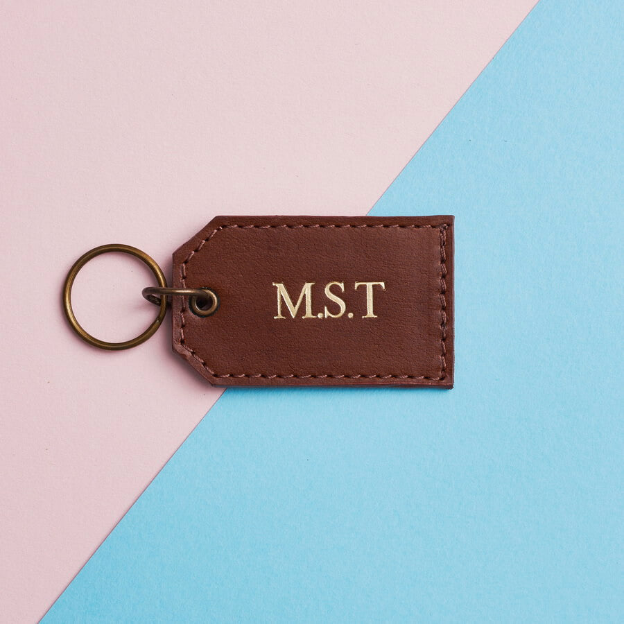 Brown leather keyring embossed in gold