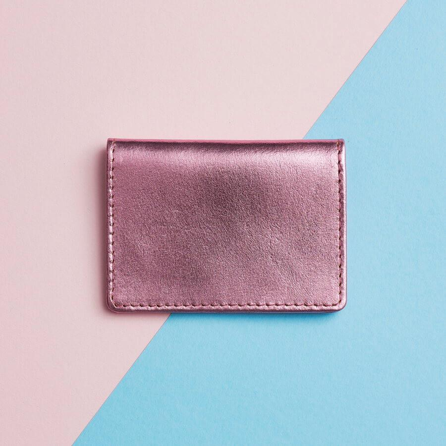 Metallic Leather Travel Card Holder